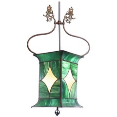 Early Leaded Glass Gas Lamp