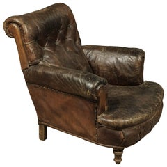 Early Leather Club Chair from France, circa 1900