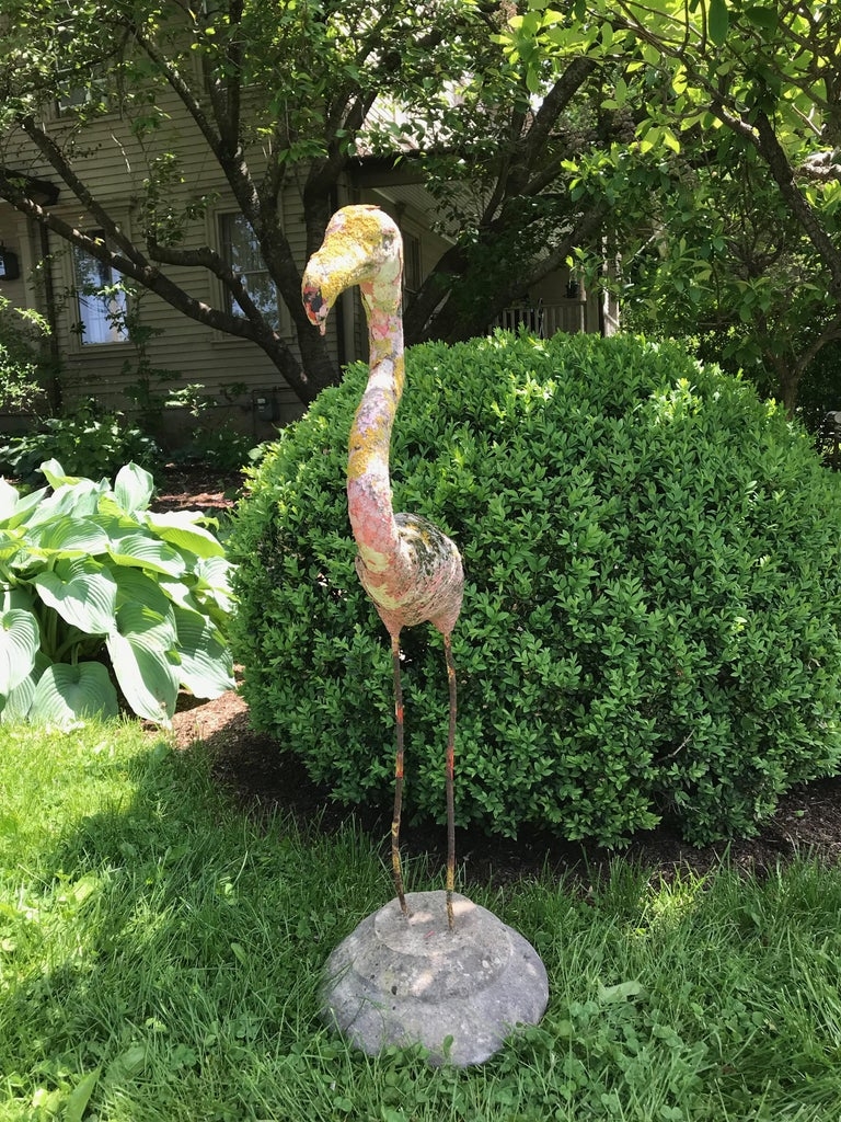 Early Lichened French Cast Stone Flamingo on Carved Stone Base In Good Condition For Sale In Woodbury, CT