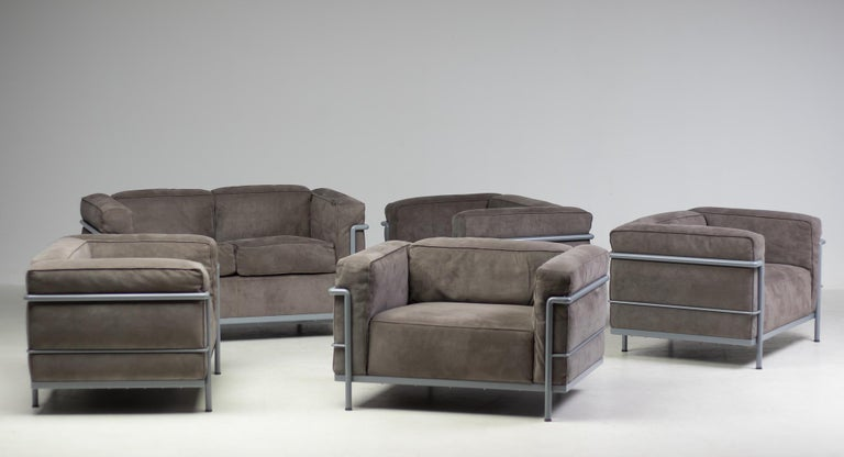 Mid-Century Modern Early Limited Edition Matching Le Corbusier LC3 and LC2 Set by Cassina