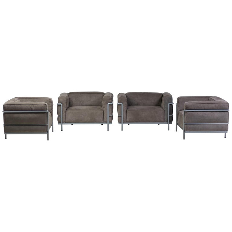 Early Limited Edition Matching Le Corbusier LC3 and LC2 Set by Cassina