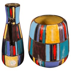 Early Lu Klopfer Pair Colorful Handmade and Hand Glazed Art Vessels, 1950-1960
