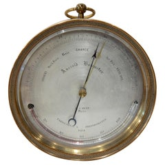 Early Lucien Vidi Brass Cased Aneroid Barometer
