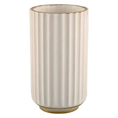 Early Lyngby Porcelain Vase with Gold Decoration, Dated 1936