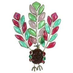 Early Maison Gripoix  Anglo Indian Peacock Brooch