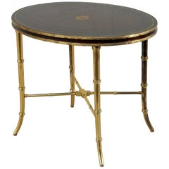 Early Maitland-Smith Leather and Brass Faux Bamboo Table