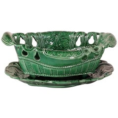 Early Majolica Reticulated Bowl and Undertray