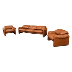 Early Maralunga Set in Original Tan Leather by Vico Magistretti for Cassina 1973
