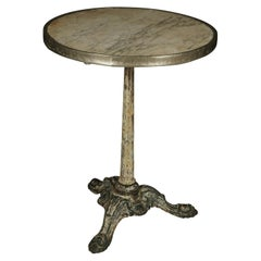 Early Marble and Cast Iron Bistro Table from France, 1940s