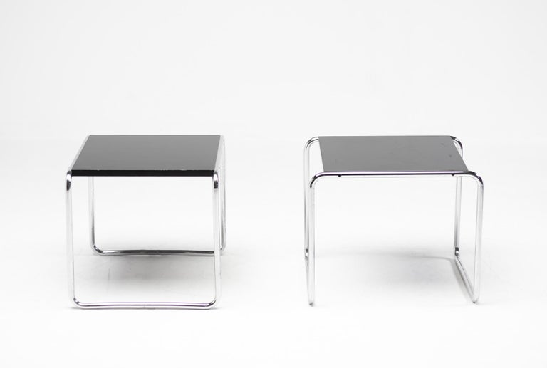 Lacquered Early Marcel Breuer Side Tables by Gavina, Italy For Sale