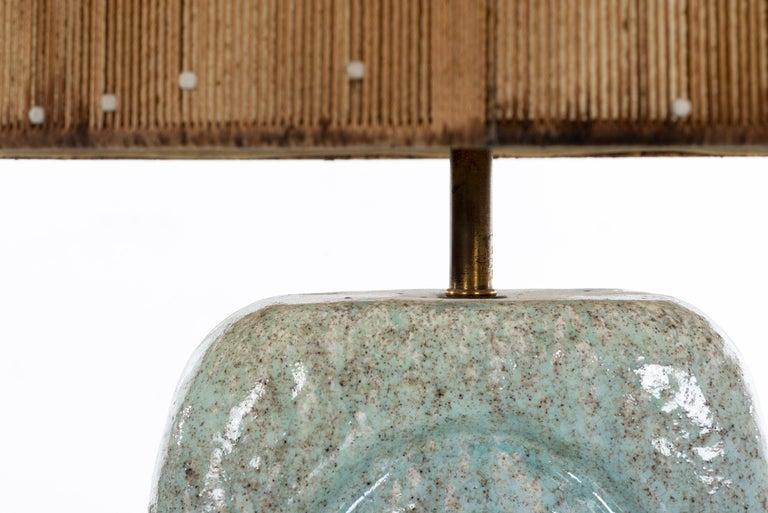 Rare, early Marcello Fantoni table lamp with original shade and diffuser.