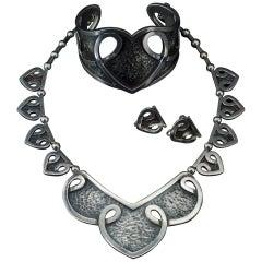 Early Margot de Taxco Sterling Parure Set Necklace Earrings Cuff Bracelet