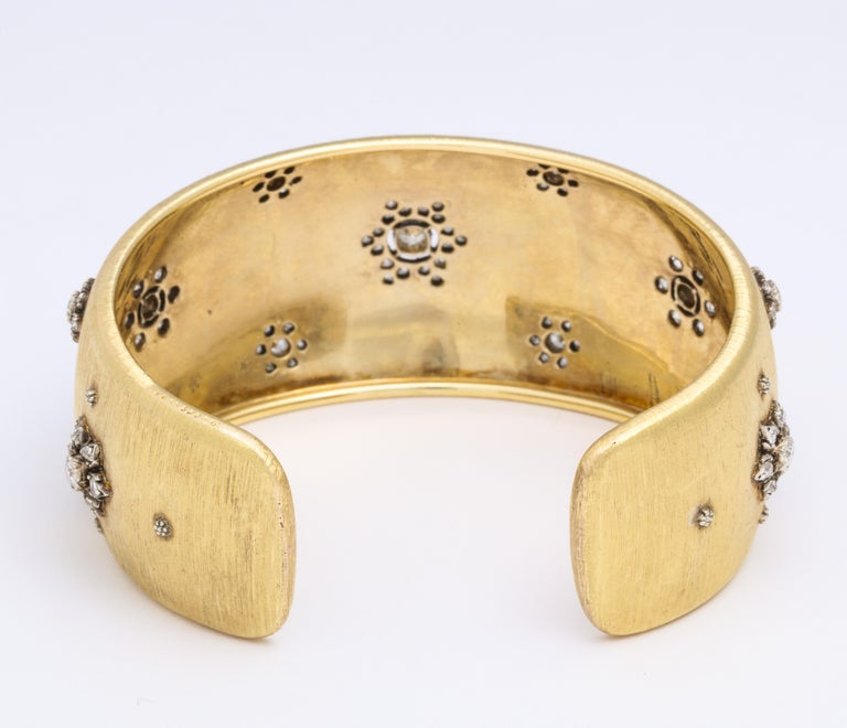 Early Mario Buccellati Gold and Diamond Cuff Bracelet For Sale 1