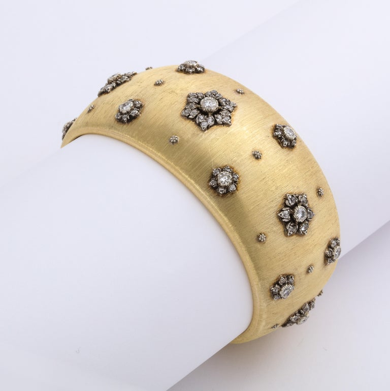 Early Mario Buccellati Gold and Diamond Cuff Bracelet For Sale 2