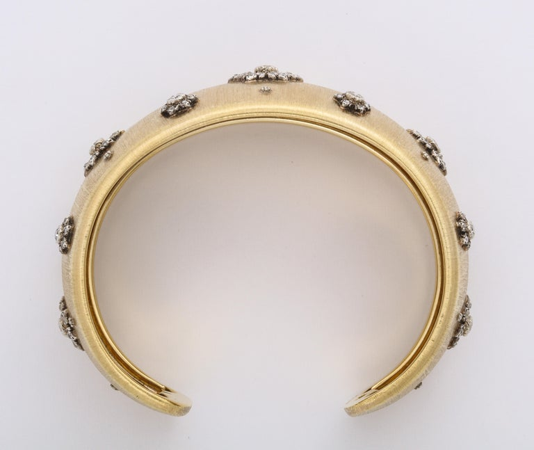 Early Mario Buccellati Gold and Diamond Cuff Bracelet For Sale 3