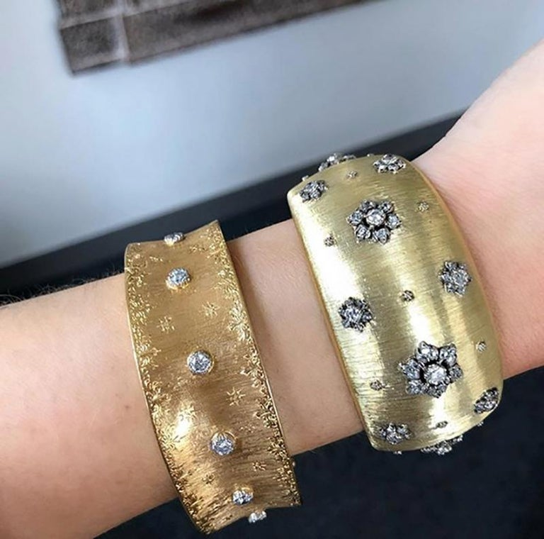 Early Mario Buccellati Gold and Diamond Cuff Bracelet For Sale 4