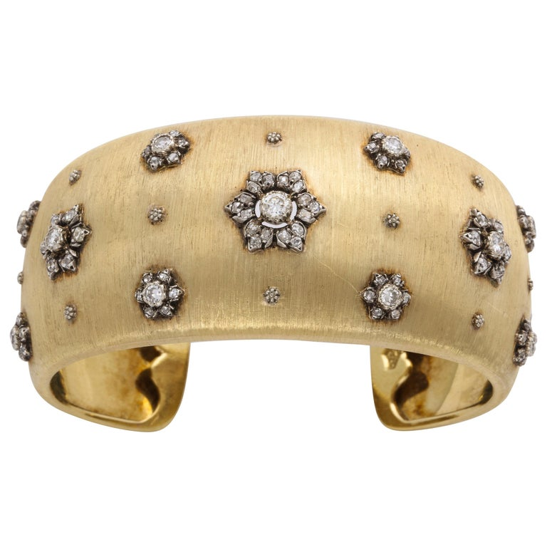Early Mario Buccellati Gold and Diamond Cuff Bracelet For Sale