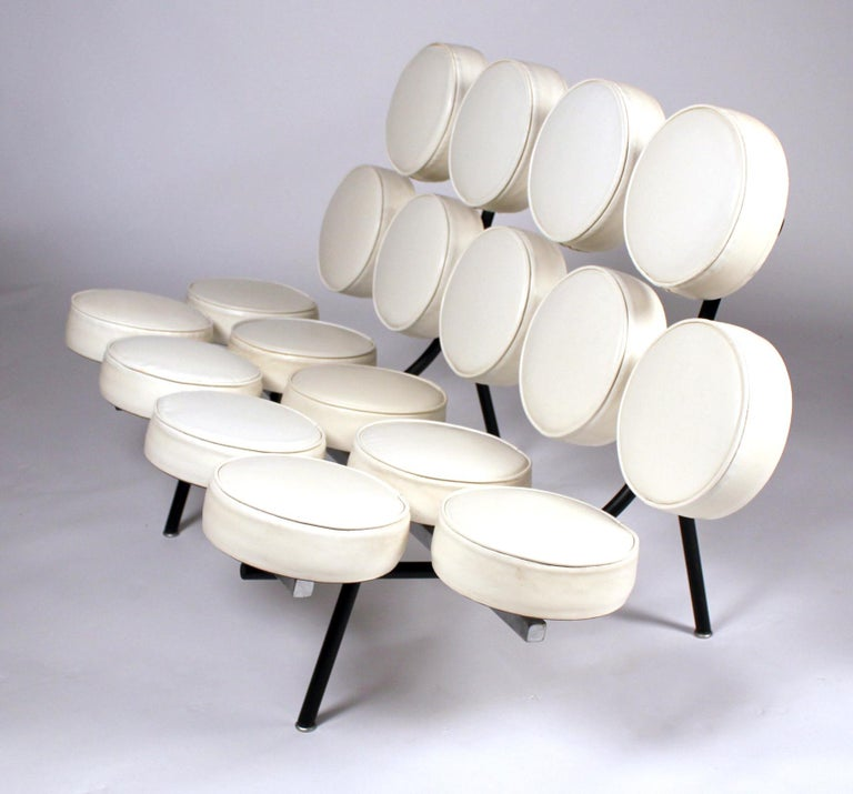 Early marshmallow sofa model 5670 designed by George Nelson for Herman Miller, circa 1956. This is an early excellent (One of the best) examples of an Iconic Classic modern design. Acquired directly from the private collection of the original owner.
