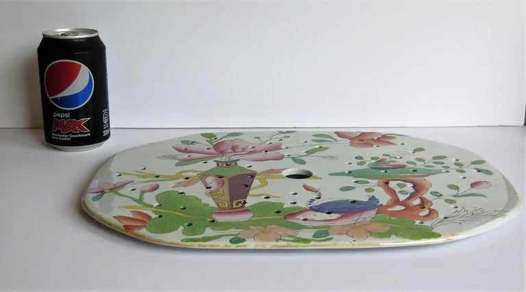 Early Mason's Ironstone Drainer Plate in Table and Flower Pot Pattern, Ca 1815 For Sale 4