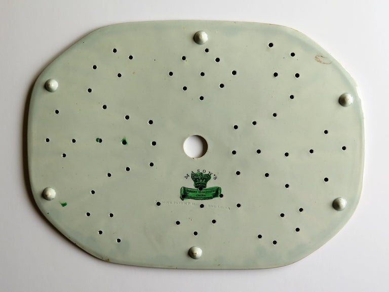 Early Mason's Ironstone Drainer Plate in Table and Flower Pot Pattern, Ca 1815 For Sale 6