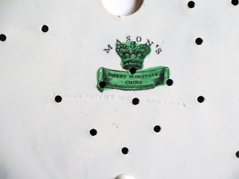 Early Mason's Ironstone Drainer Plate in Table and Flower Pot Pattern, Ca 1815 For Sale 9
