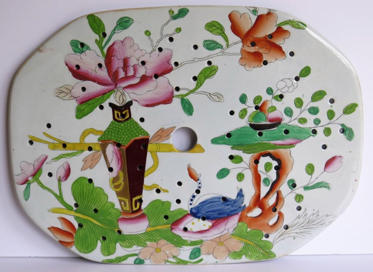 Chinoiserie Early Mason's Ironstone Drainer Plate in Table and Flower Pot Pattern, Ca 1815 For Sale