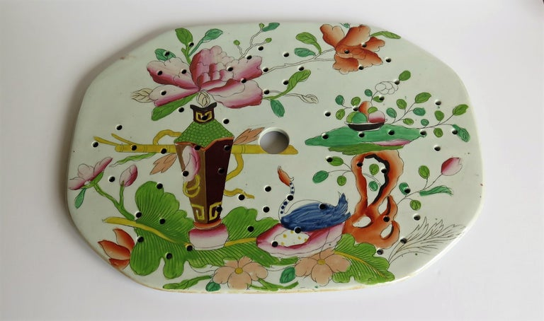 Hand-Painted Early Mason's Ironstone Drainer Plate in Table and Flower Pot Pattern, Ca 1815 For Sale
