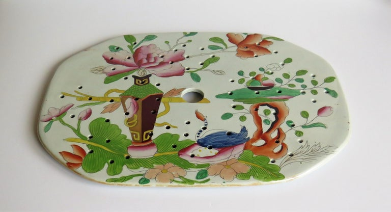 19th Century Early Mason's Ironstone Drainer Plate in Table and Flower Pot Pattern, Ca 1815 For Sale