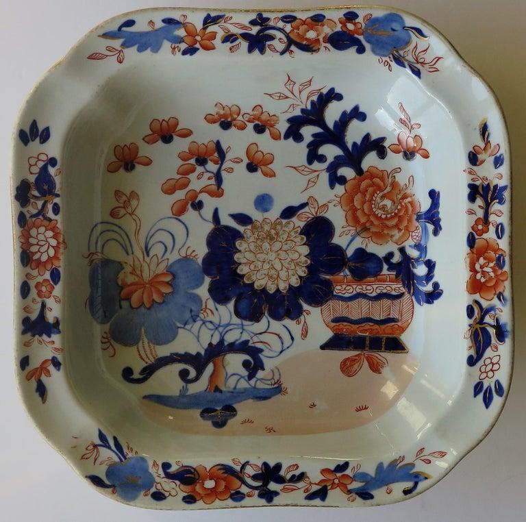 Georgian Mason's Ironstone Large Dish or Bowl Gilded Japan Basket, circa 1818 For Sale 3