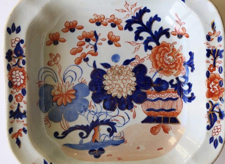 Georgian Mason's Ironstone Large Dish or Bowl Gilded Japan Basket, circa 1818 For Sale 4