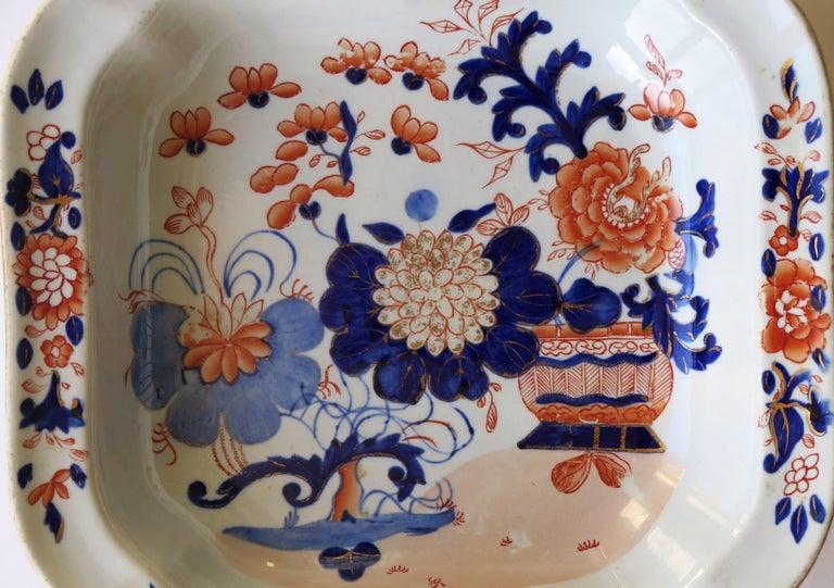 Georgian Mason's Ironstone Large Dish or Bowl Gilded Japan Basket, circa 1818 For Sale 5