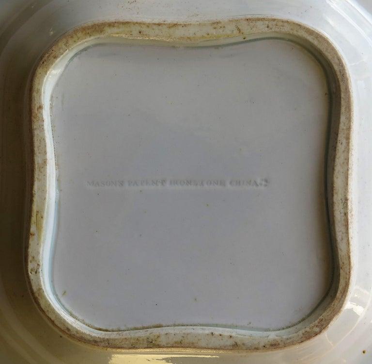 Georgian Mason's Ironstone Large Dish or Bowl Gilded Japan Basket, circa 1818 For Sale 8