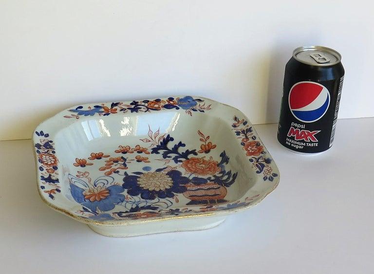 Georgian Mason's Ironstone Large Dish or Bowl Gilded Japan Basket, circa 1818 For Sale 9