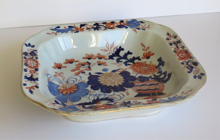 This is a very good large bowl or serving dish in the gilded Japan basket pattern, made by Mason's Ironstone, England in the early 19th century, circa 1815-1820.  Early Mason's bowls of this size and shape tend to be harder to find.  The bowl is