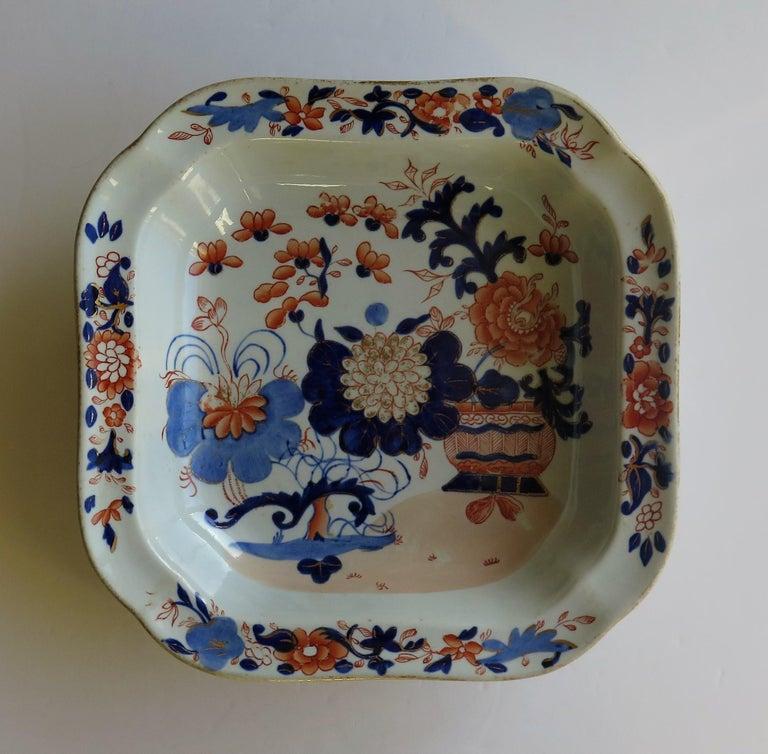 Chinoiserie Georgian Mason's Ironstone Large Dish or Bowl Gilded Japan Basket, circa 1818 For Sale
