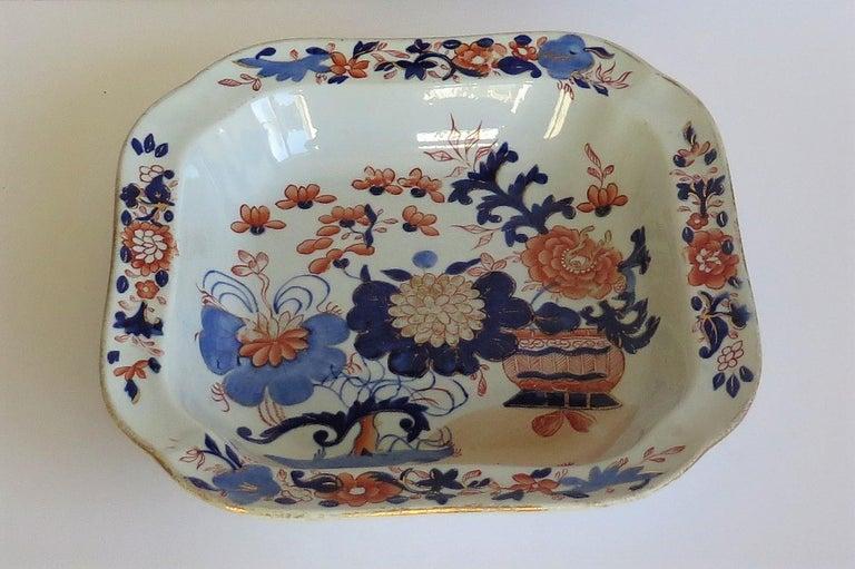 English Georgian Mason's Ironstone Large Dish or Bowl Gilded Japan Basket, circa 1818 For Sale