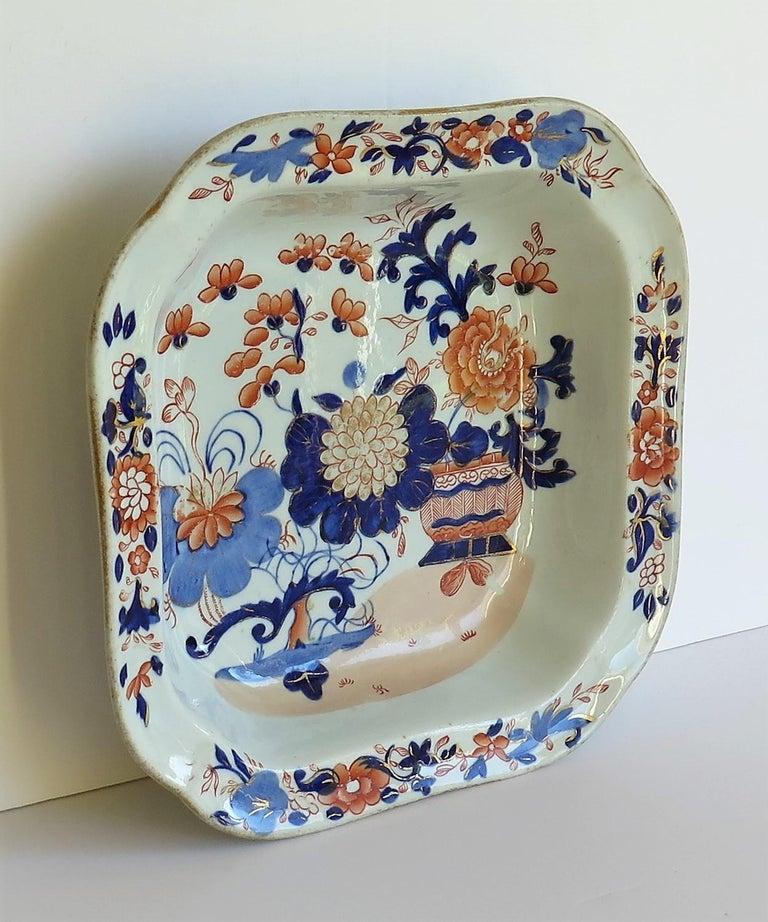 Hand-Painted Georgian Mason's Ironstone Large Dish or Bowl Gilded Japan Basket, circa 1818 For Sale