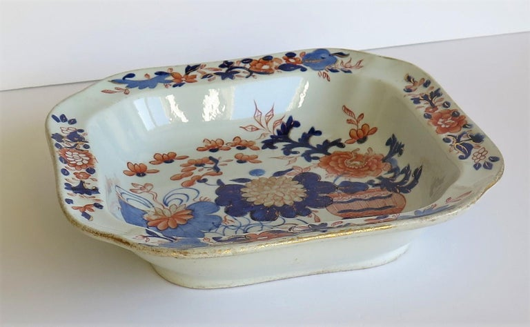 Georgian Mason's Ironstone Large Dish or Bowl Gilded Japan Basket, circa 1818 In Good Condition For Sale In Lincoln, Lincolnshire