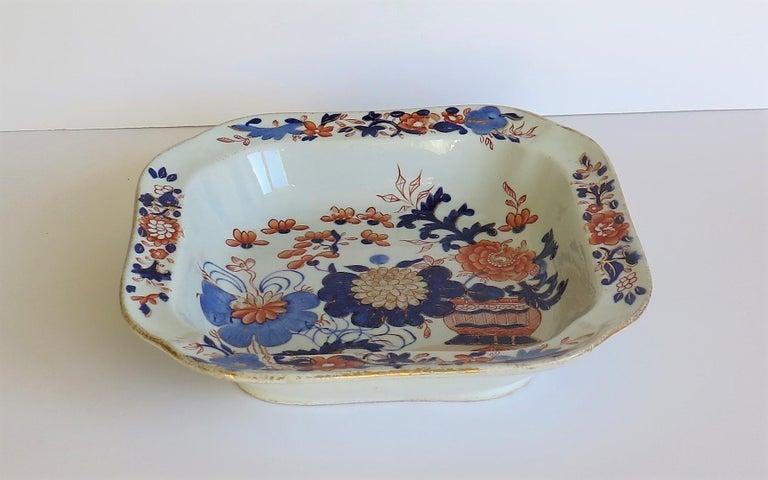 19th Century Georgian Mason's Ironstone Large Dish or Bowl Gilded Japan Basket, circa 1818 For Sale