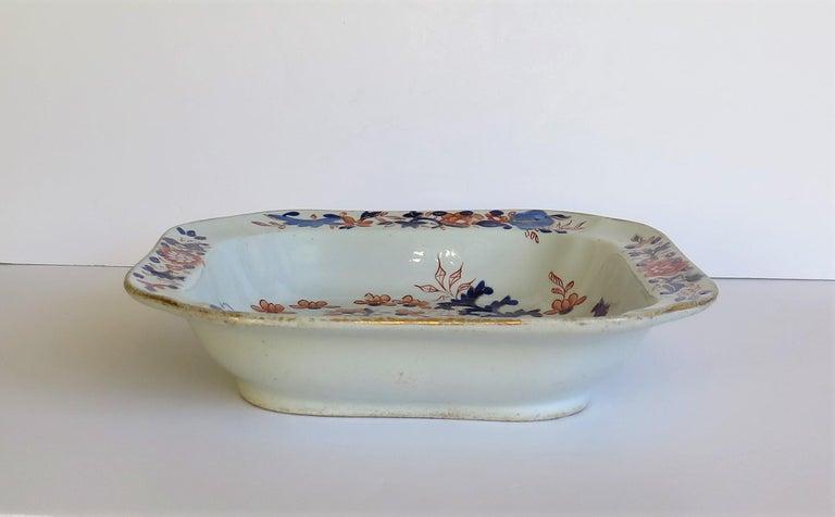 Georgian Mason's Ironstone Large Dish or Bowl Gilded Japan Basket, circa 1818 For Sale 1
