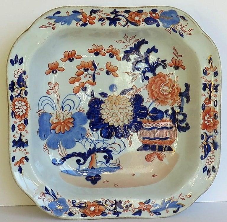 Georgian Mason's Ironstone Large Dish or Bowl Gilded Japan Basket, circa 1818 For Sale 2