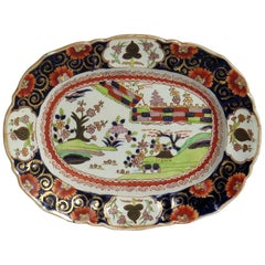 Early Mason's Ironstone Platter or Plate in Colored Wall Pattern, circa 1825