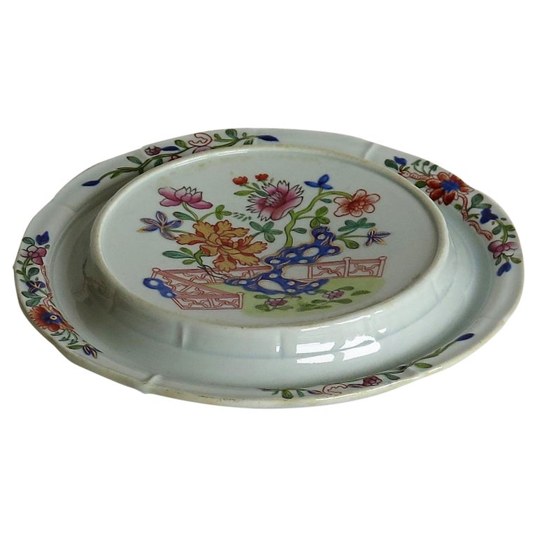 Early Mason's Ironstone Teapot Stand in Fence, Rock and Gold Flower Ptn For Sale