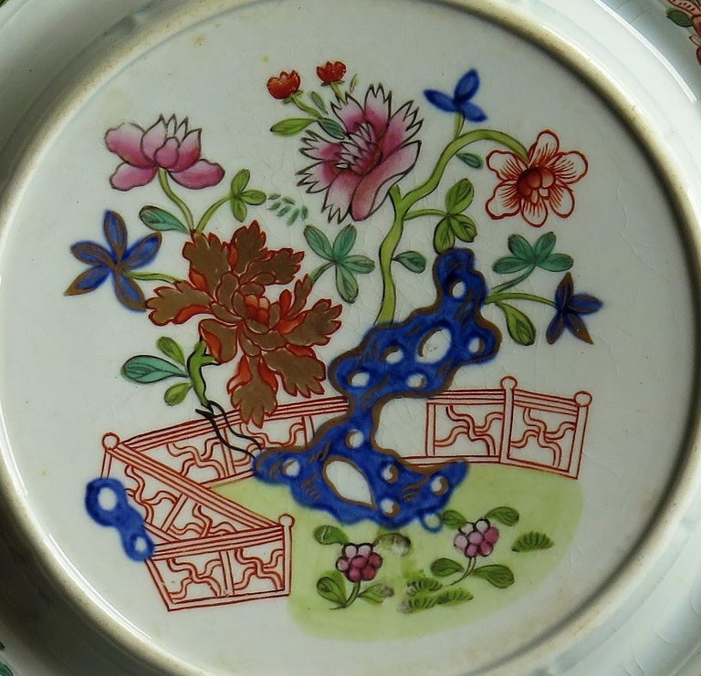 Early Mason's Ironstone Teapot Stand in Fence, Rock and Gold Flower Ptn For Sale 3