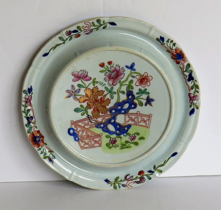 Georgian Early Mason's Ironstone Teapot Stand in Fence, Rock and Gold Flower Ptn For Sale
