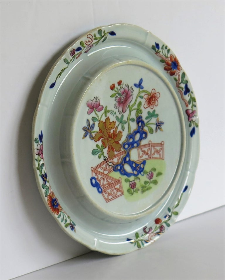 Hand-Painted Early Mason's Ironstone Teapot Stand in Fence, Rock and Gold Flower Ptn For Sale
