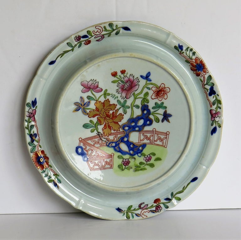 Early Mason's Ironstone Teapot Stand in Fence, Rock and Gold Flower Ptn For Sale 1