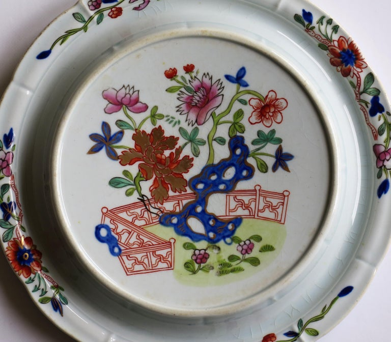 Early Mason's Ironstone Teapot Stand in Fence, Rock and Gold Flower Ptn For Sale 2