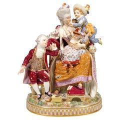 Early Meissen Rococo Group 'The Loving Mother' by Acier & Schönheit, 1774-1814