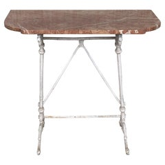 Early Metal Bistro Console Table with Pink Marble Top from France, circa 1930